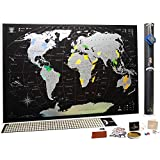 Full Color Deluxe Silver-Black World Scratch Off Map | 35'' x 25'' Push Pin Travel Tracker Map Poster Detailed Gift Tube Eco-Friendly & Premium Materials Mymap