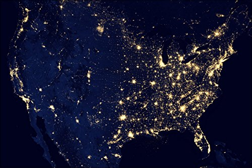 24x36 Poster; Map Image Of United States Of America At Night Light Pollution