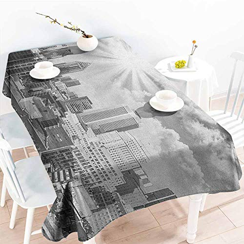 familytaste Black and White,3D Printed Tablecloth Aerial View Montreal Canada Cityscape with Skyscrapers Architecture 70