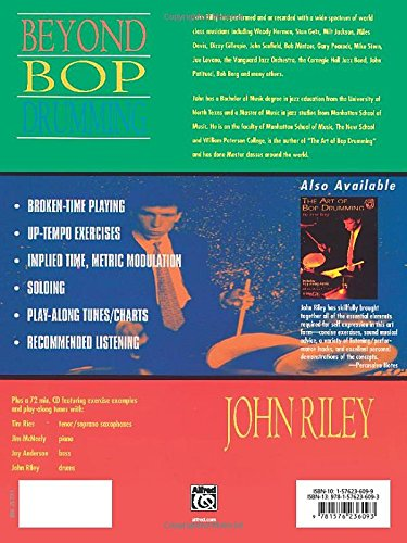 Back cover of the classic jazz drumming book The Art of Bop Drumming by John Riley