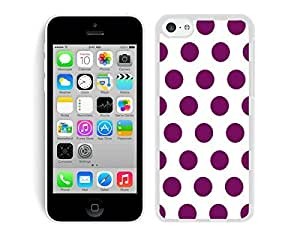 BINGO best price Polka Dot White and Purple iPhone 5C Case White Cover