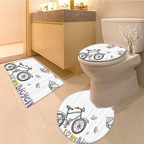 3 Piece Bath Rug SetBicycle Classic Bike on Cobblestone Street in Italian Town Leisure Charm Artistic Pho Textures Non-Slip Bathroom Mats Contour Toilet Cover Rug Collection Cobblestone Three Light Fixture
