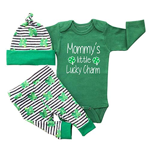 My First St Patrick's Day Baby Boys Girls Mommy's Lucky Charm Shamrock Romper Green Clover Pants with Hat 3Pcs Outfit Set