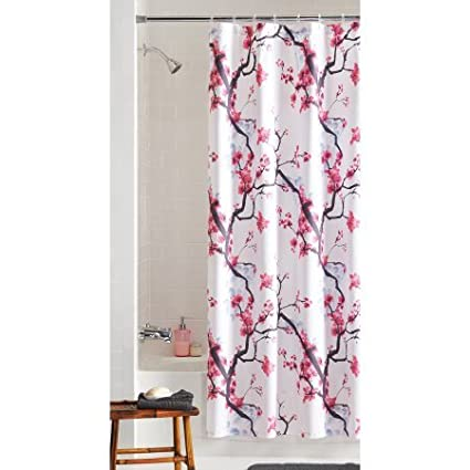 Mainstays Fabric Shower Curtain Pink Blossom Pack Of 1