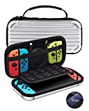 KeeGan Carrying Case for Nintendo Switch - Deluxe Hard Protective Travel Case Portable Bag Shockproof Shell Pouch with 10 Game Card Storage and Screen Protector Glass (Sliver)