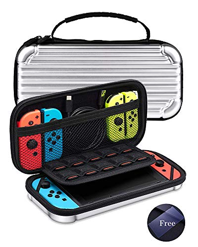 KeeGan Carrying Case for Nintendo Switch - Deluxe Hard Protective Travel Case Portable Bag Shockproof Shell Pouch with 10 Game Card Storage and Screen Protector Glass ()