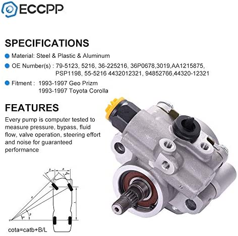 A-Premium Power Steering Pump for Toyota Corolla Geo Prizm 1993-1997