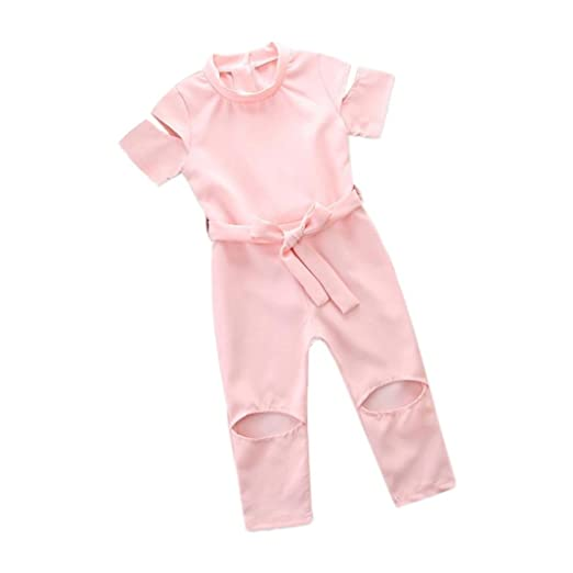 d47bd4d55 Amazon.com: Toddler Baby Girls Clothes Sets for 12 Months-5T, Comfortable  Fashion Short Sleeve Solid Color Hole Jumpsuit Outfits: Clothing