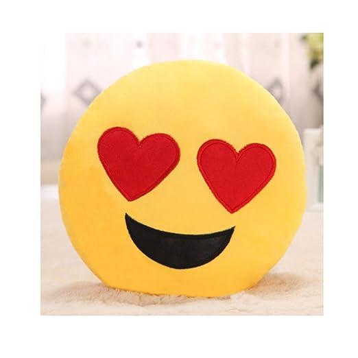 PENVEAT Emoji Almohada Corazón 30 cm Amarillo Forma Redonda ...