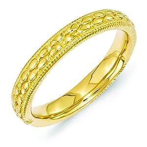 3,5 mm de plata de ley Expressions apilables dorado-bañado en diseño de anillo - tamaño J 1/2 - JewelryWeb