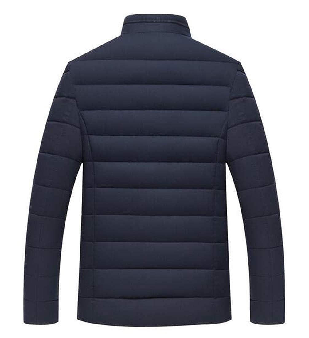 Nanquan Men Solid Zipper Stand Collar Winter Packable Quilted Coat Puffer Jacket