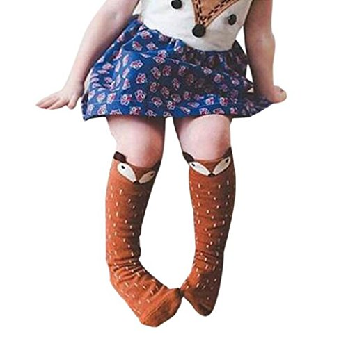 Price comparison product image Tenworld 1-3 Years Toddlers Kids Girls Fox Pattern Knee High Socks (Coffee)