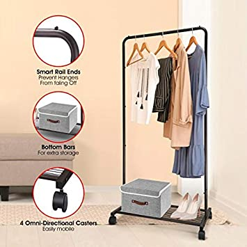 Industrial Pipe Garment Racks On Wheels Heavy Duty Commercial Clothing Rack with Metal Bottom Shelves for Boxes Shoes Storage Bextsware Clothes Rack Mini Bronze