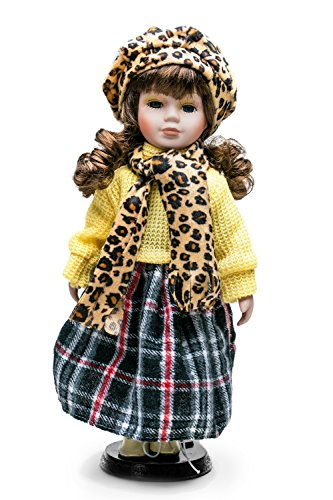 """Porcelain Doll On Stand 12"""" Fashion Girl With Brown Curly Hair Collectible Dolls (yellow, brown, gray)"""