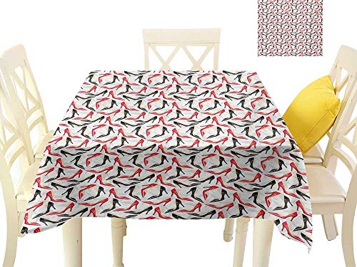 - familytaste Table Cover Tablecloth Red and Black,Women Fashion Pattern with High Heel Stiletto Shoes Ladies Footwear,Scarlet Black Beige Fabric Decorative Table Top Cover W 54