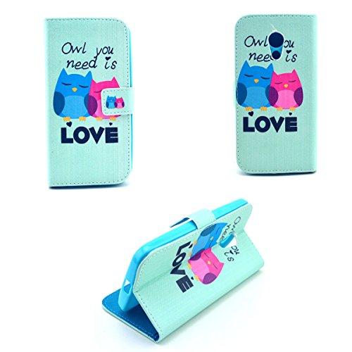 Dokpav® Moto G2 Case,Ultra Slim Thin PU Leather Case Cover Flip For Moto G2 With Interior Slip Pockets For Cards-love owl