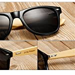 Long Keeper Bamboo Wood Arms Sunglasses for Women Men 6 Total Revolution Design-100% real Wood arms that support a plastic frame with unique stainless-steel, double-spring hinges are sturdy and designed to keep their shape perfect High Quality Lens -Helps to block harmful UVA and UVB rays--certified UV400 protection.Flexible spring hinges for comfort & durability help prevent slippage during physical activity. Lightweight-Only 29g, The lightweight Quality Wood offers a comfortable fit that is durable and sturdy at the same time.
