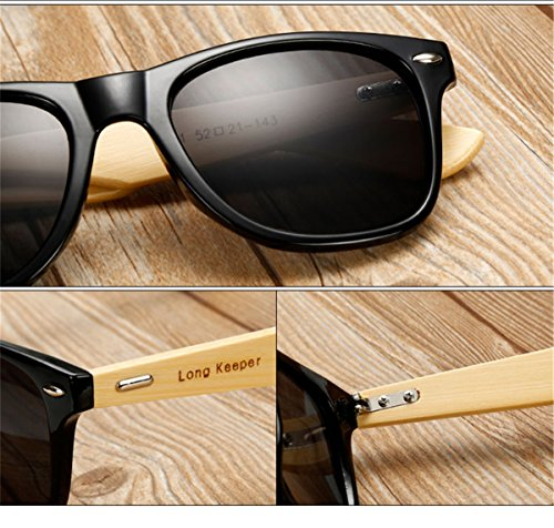 Long Keeper Bamboo Wood Arms Sunglasses for Women Men 3 Total Revolution Design-100% real Wood arms that support a plastic frame with unique stainless-steel, double-spring hinges are sturdy and designed to keep their shape perfect High Quality Lens -Helps to block harmful UVA and UVB rays--certified UV400 protection.Flexible spring hinges for comfort & durability help prevent slippage during physical activity. Lightweight-Only 29g, The lightweight Quality Wood offers a comfortable fit that is durable and sturdy at the same time.