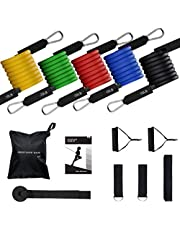 TOPELEK Exercise Resistance Bands Set, [Up to 150 lbs] Fitness Stretch Bands Workout Resistance Tube Straps for Men Women, Shoulder, Legs, Arm and Glutes Ideal for Physical Therapy, Strength