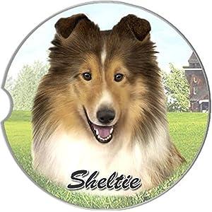 E&S Pets Sheltie Coaster, 3″ x 3″