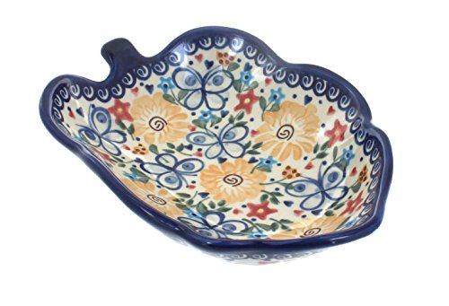 - Polish Pottery Butterfly Small Leaf Bowl