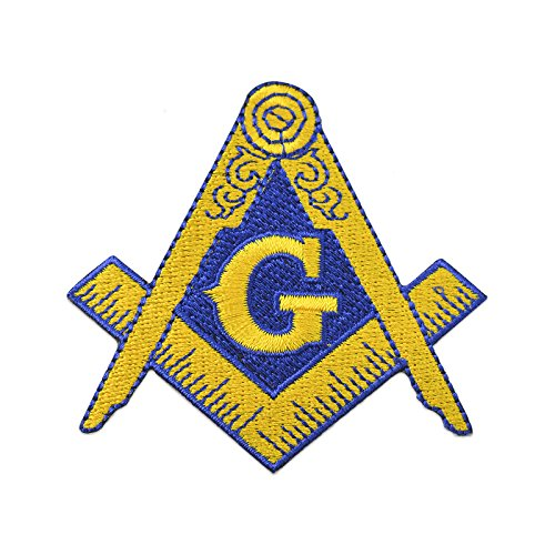 "Square & Compass Embroidered Masonic Patch - 3"" Tall"