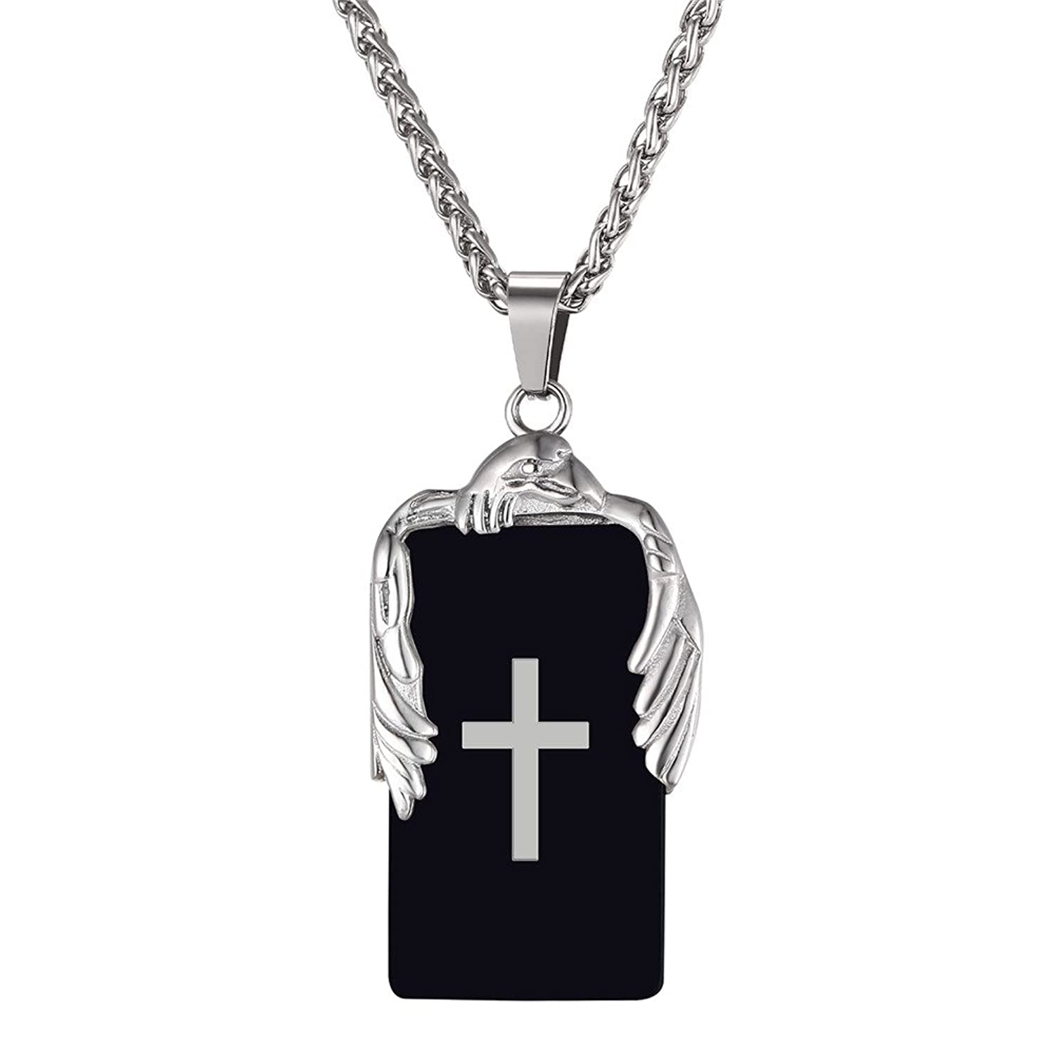 U7 Men Cool Eagle Cross Engraved Pendant with Stainless Steel Chain 22