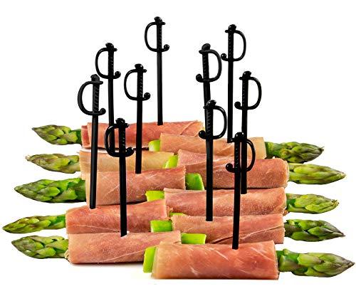 Black Sword Picks, 50 Plastic Cocktail & Food Toothpicks, 3