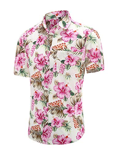 Dioufond Men's Pineapple Flower Casual Button Down Short Sleeve Aloha Hawaiian Shirt (Whiteflower, XL)
