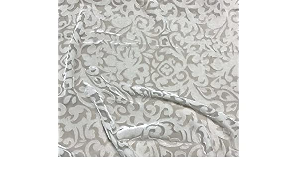 "Burnout Silk VELVET Fabric WHITE BAROQUE SCROLL 45/"" wide"
