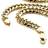 14K Yellow Gold REAL Light Miami Cuban Curb Link Chain Necklace/ Bracelet 7.5MM Lobster Claw Clasp