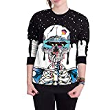 iTLOTL Couple 3D Skull Print Halloween Long Sleeve Hooded Sweater top(Blue -1,US-12/CN-L)