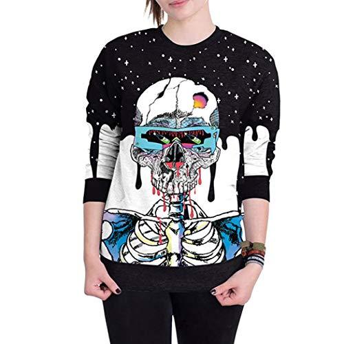 iTLOTL Couple 3D Skull Print Halloween Long Sleeve Hooded Sweater top(Blue-1,US-12/CN-L) by iTLOTL