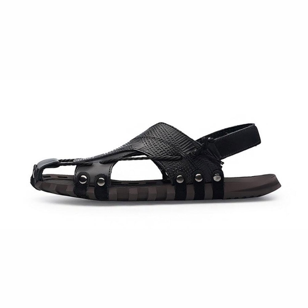 Männer Sandalen Geschlossene Zehe bequeme Schuhe Mode Strand Sommer Outdoor Strand SchuhesYaer Herren Leder Sandalen Strand Outdoor Schuhe für Männer Sandalen weiche Unterseite (2 Farben) ( Farbe : EIN , Größe : 46 ) B 625ff5