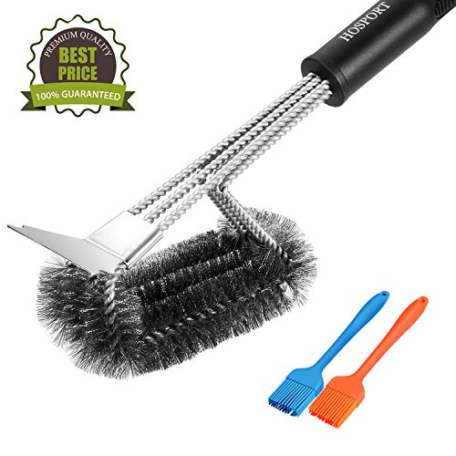 "HOSPORT Grill Brush and Scraper BBQ Brush with 2 Silicone Basting Brushes Safe 18"" Long Stainless Steel Bristle Cleaner Brush for Weber Gas/Charcoal Grill, Gifts for Grill Wizard Grate Cleaner"