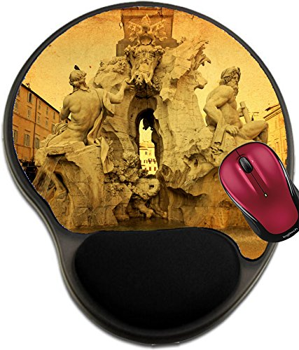 Obelisk Design (Liili Mousepad wrist protected Mouse Pads/Mat with wrist support design Fountain of the Four Rivers Fontana dei Quattro Fiumi with an Egyptian obelisk Italy Rome Navon Square Piazza Navona 28326752)