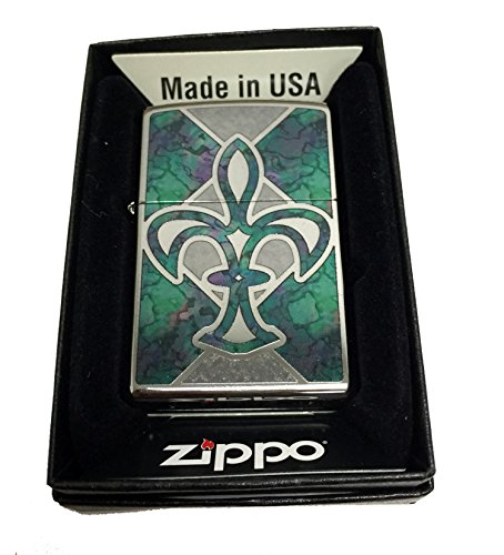 Zippo Custom Lighter - Fleur De Lys Fuzion Mosaic - Regular High Polished Chrome
