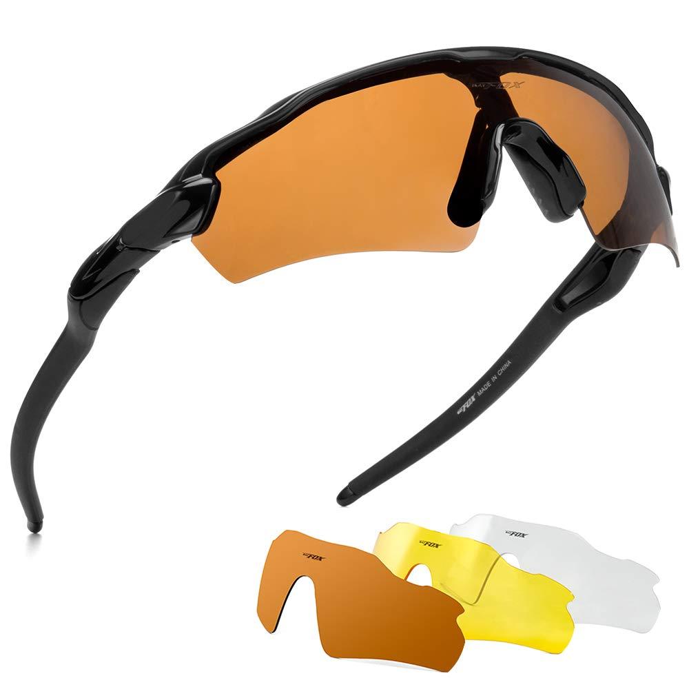 BATFOX Polarized Sports Sunglasses Glasses TAC Running Cycling Baseball Fishing Golf Softball Outdoor for Men Women Youth Interchangeable Lenses Tr90 Unbreakable Frame 100% UV Protection by BATFOX