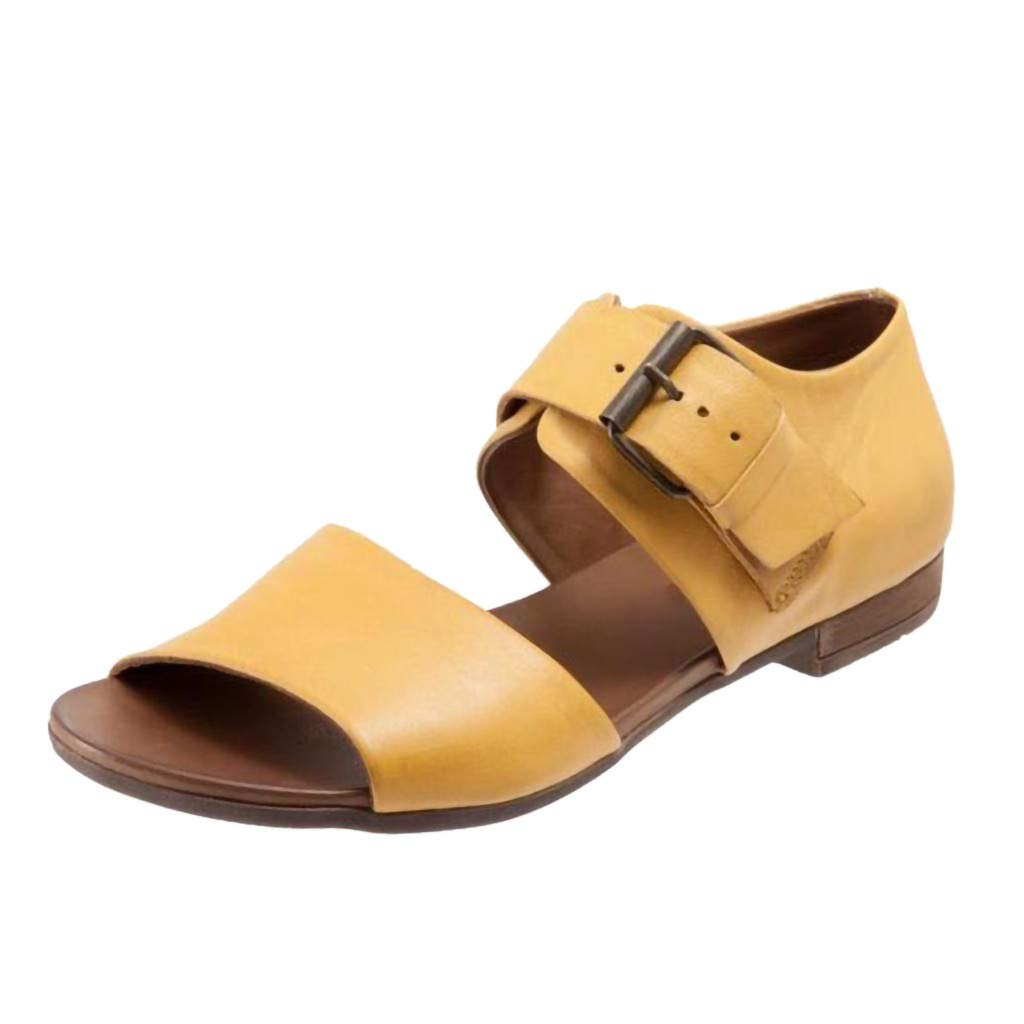 Women's Cute Open Toes One Band Ankle Strap Flexible Summer Flat Sandals Belt Buckle Sandals Flat Bottom Shoe Yellow