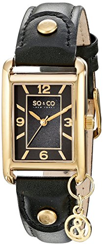 """SO&CO New York Women's 5024.2 Madison 23K Gold Tone Rectangle Case With Hanging """"&"""" Logo Charm Brown Leather Strap Watch"""
