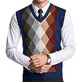 FULIER Winter Mens Gilet V-Neck Sleeveless Vest Business Gentleman Knitwear Tank Tops Colorful (Navy, M)