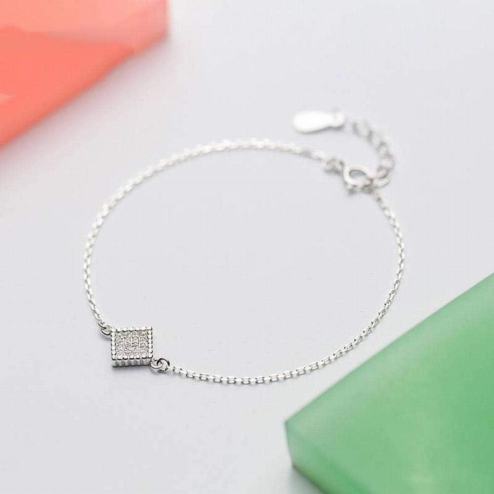 LOt Bangles Bracelets S925 Silver Bracelet Female Fashion Simple Full Square Bracelet Temperament Bracelet Female