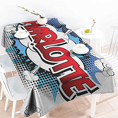 EwaskyOnline Tablecloth for Kids/Childrens,Charlotte Female Name with French Origins in Retro Cartoon Design Explosion Effect and Dots,Modern Minimalist,W60X102L, Multicolor