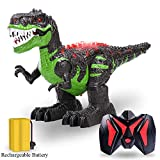TEMI Remote Control Dinosaur for Kids Boys Girls, Electric RC Toys Educational Walking Tyrannosaurus Rex Dinosaur with Lights and Roar Sounds Powered by Rechargeable Battery,360 Degree Rotation Stunt