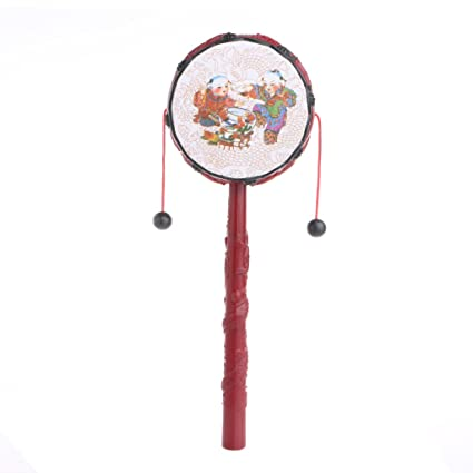 Toys & Hobbies New Arrivals Red Chinese Traditional Spin Toys Vintage Rattle Drum Kids Cartoon Hand Bell Plastic For Baby