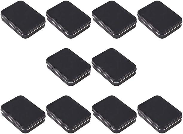 Healifty 20Pcs Caja de Lata Rectangular de Metal Pequeña Caja de Almacenamiento de Latas con Bisagras Vacías Caja de Almacenamiento de Contenedores Portátiles (Negro): Amazon.es: Hogar