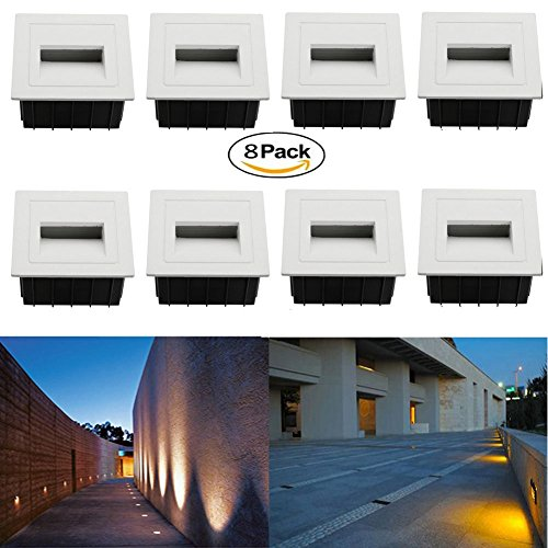 FVTLED 8 Pack 2W AC 85-265V LED Corner Wall Lamp Wall Plinth Lights Embedded LED Stairs Step Night Pathway Hall Corner Lighting Footlight for Hallway, Stairs, Closet, Bedroom (White, Warm White, 8pcs)