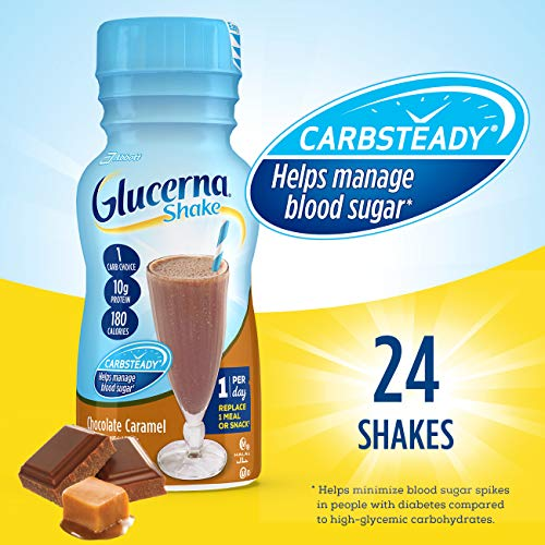 Glucerna, Diabetes Nutritional Shake, To Help Manage Blood Sugar, Chocolate Caramel, 8 fl oz (Pack of 24)
