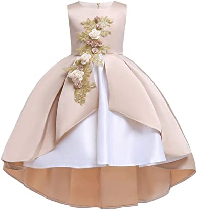 New Dress Princess Size Pageant Floral Kids Girls Lace-up Party Wedding Toddler