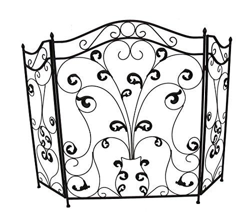 Scroll Design Fireplace Screen (Metal Fireplace Screens Bronze Finish Iron Scroll Design 3 Panel Fireplace Screen 46 X 39 X 0.75 Inches Bronze)